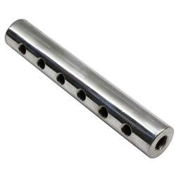 Round Polished Aluminum Fuel Block, 6-Hole