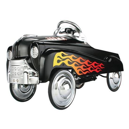 New Black Flamed Hot Rod Pedal Car w Chrome Steering Wheel Hub Caps