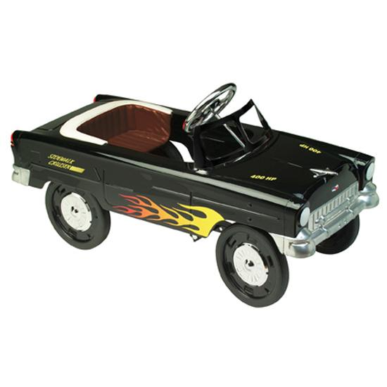1955 black with flames chevy pedal car free shipping for Speedway motors used cars