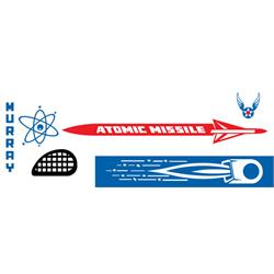 Murray® White Atomic Missile 1960-1964 Pedal Car Graphic