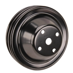 Double Groove Water Pump Pulley for Small Block Chevy Long Pump Black