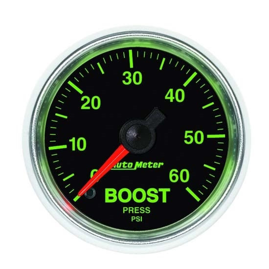 Auto Meter 3805 GS Mechanical Boost Gauge, 2-1/16 Inch, 60 PSI