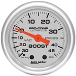 Auto Meter 4308 Ultra-Lite Mechanical Boost/Vacuum Gauge, 2-1/16 Inch