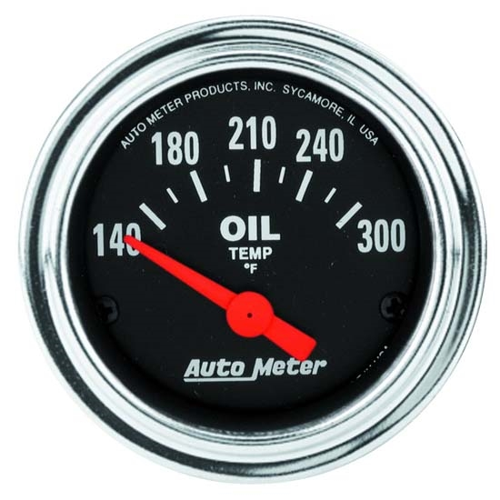 Auto Meter 2543 Traditional Chrome Air-Core Oil Temperature Gauge