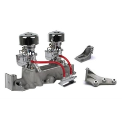 Chrome 9 Super 7® Carbs, Offenhauser 1073 Super Intake, 1942-1948 Ford V8