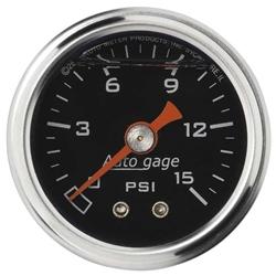 Auto Meter 2172 Auto Gage Mechanical Pressure Gauge, 1-1/2 Inch, 0-15