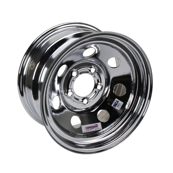 Speedway IMCA Approved Chrome Wheel, 15x8, 5 on 5 Inch, Non Beadlock