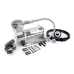 Viair 38033 Single Air Suspension Compressor Kit, 380C, Chrome