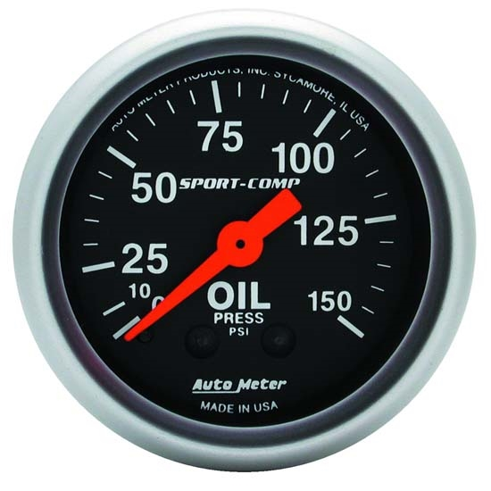 Auto Meter 3323 Sport-Comp Mechanical Oil Pressure Gauge, 150 PSI