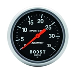 Auto Meter 3404 Sport-Comp Mechanical Boost Gauge, 35 PSI, 2-5/8 Inch