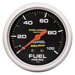 Auto Meter 5412 Pro-Comp Mechanical Fuel Pressure Gauge,100 PSI, 2-5/8