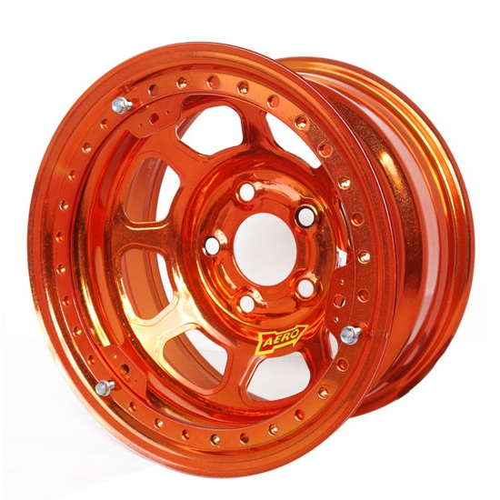 Aero 53-985030ORG 53 Series 15x8 Wheel, BL, 5 on 5 BP, 3 Inch BS IMCA