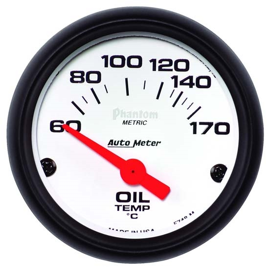 Auto Meter 5748-M Phantom Air-Core Electric Oil Temp Gauge, 2-1/16 In.