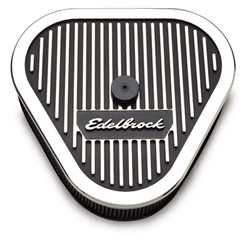 Edelbrock 4222 Elite Series Aluminum Air Cleaner Assy, Triangular,3in.