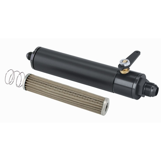 Black Fuel Filter with Shut-Off, 6 Inch, -10 AN