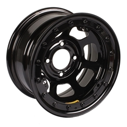 Bassett 58DH475L 15x8 D-Hole 4 x 100mm 4.75 BS Black Beadlock Wheel