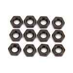 Black Aluminum Jam Nuts, 1/4-28 Thread, 12 Pack