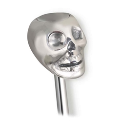 Lokar SK-6861 Skull Shifter Knob w/Plain Button, Polished