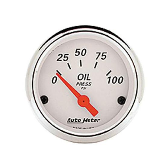 New Auto Meter Artic White Series Electric Oil Pressure Gauge, 2 1/16