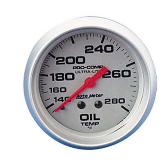 Ultra Lite Mechanical Oil Temperature Gauge 140 280° White