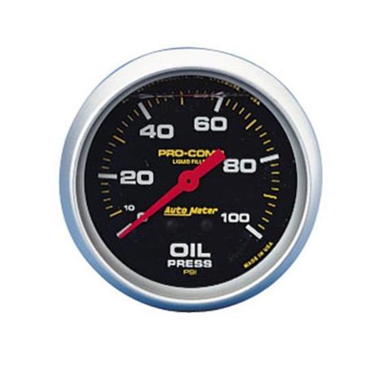 """New Auto Meter 2 5 8"""" Pro Comp Liquid Fill Oil Pressure Gauge 0 100 PSI Black"""