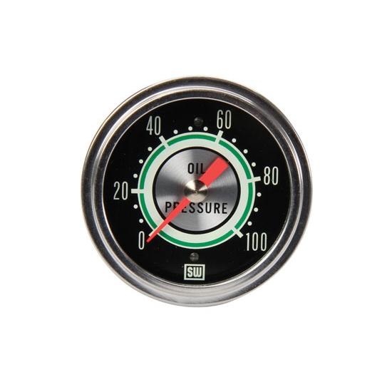 "New Stewart Warner 2 5 8"" Green Line Mechanical Oil Pressure Gauge 0 100 PSI"