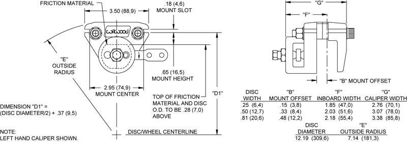 6.4 Wilwood 120-1360 Mechanical Parking Brake//Spot Caliper .25/'/' Disc Width