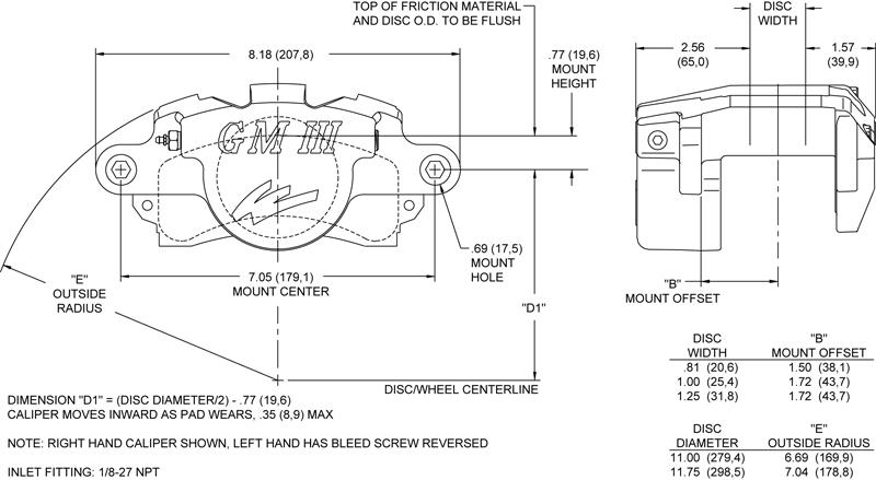 Wilwood 120 5289 D52 Single Piston Floater Caliper Gm Iii