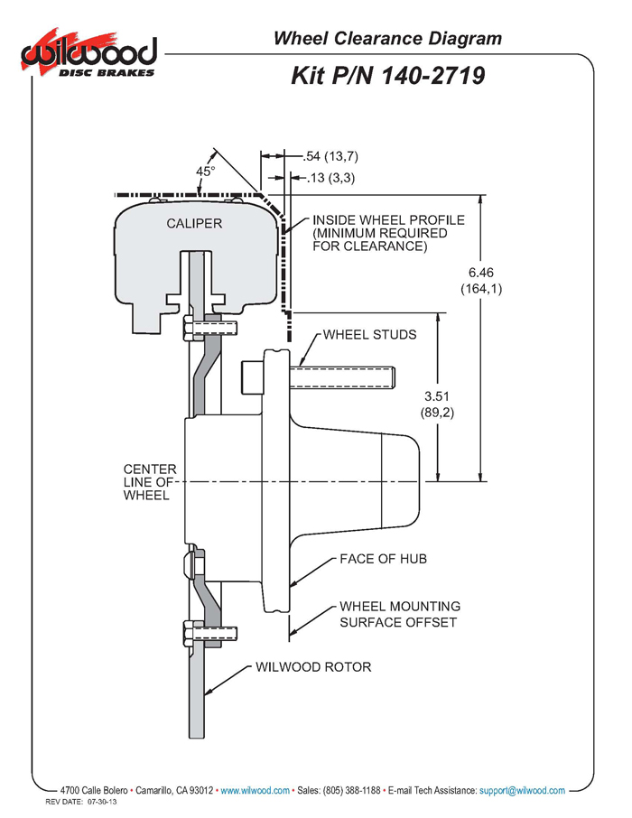Wilwood 1402719BD FDL 1075 Front Drag Disc Brake Kit