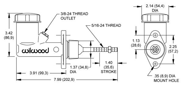 Wilwood 260 2636 Integral Reservoir Alum Master Cylinder