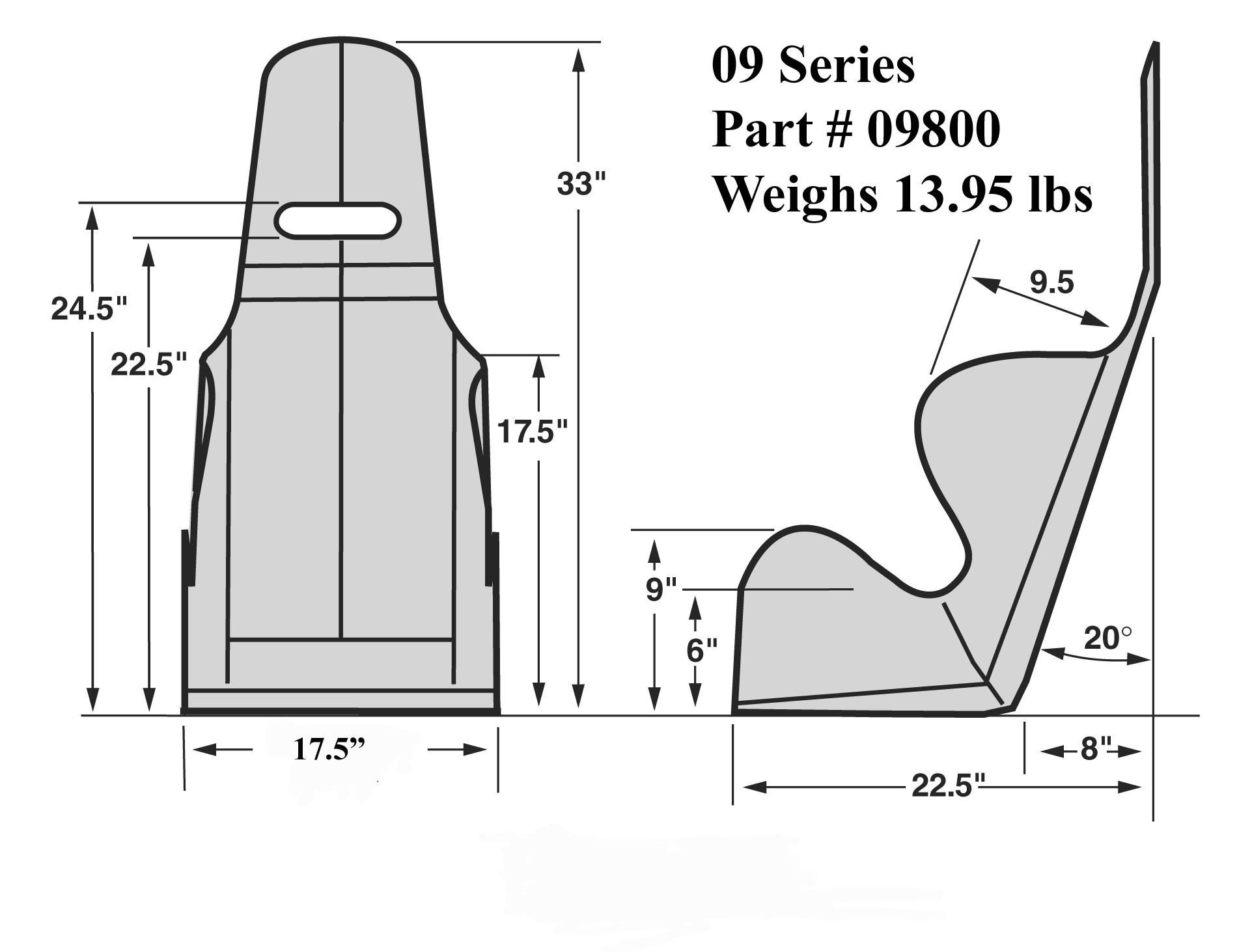 Kirkey 09 Series 17 5 Wide Economy 20 Deg Layback Racing Seat Black