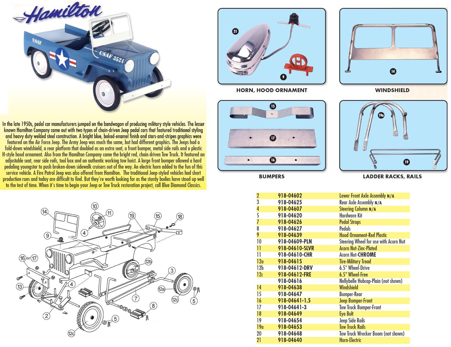 Pedal Car Parts, Hamilton Jeep Rear Bumper